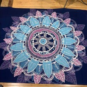 Navy blue, teal, & purple-ish tapestry